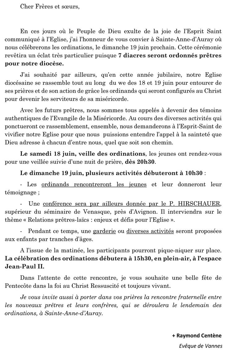 Mot de Mgr Centène Annonce Ordinations 2